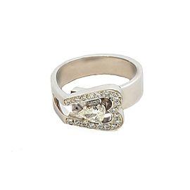 14K White Gold Pear Shape Center Stone Ring
