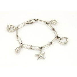 Tiffany & Co. Elsa Peretti Five Charm Sterling Silver Oval Link Charm Bracelet
