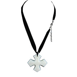 Baccarat Rock'mantic Occitane Opal Cross Sterling Silver Large Chiffon Silk Necklace