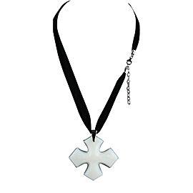 Baccarat Rock'mantic Occitane Opal Cross Sterling Silver Large Chiffon Silk Necklace