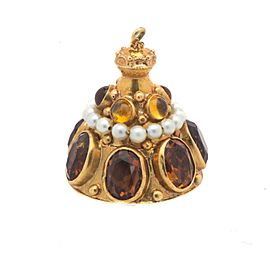 Yellow Gold Citrine, Topaz, Pearl Womens Pendant