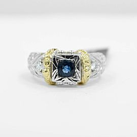 Light Blue Sapphire Ring w 0.20Ct Diamonds 14K White & 18K Yellow Gold SIZE 6.25
