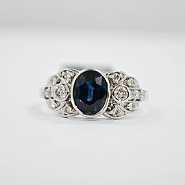 White White Gold Sapphire, Diamond Womens Ring Size 7.75