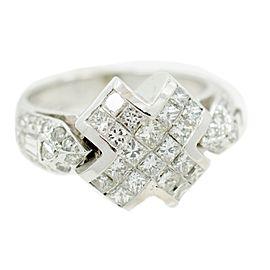 White White Gold Diamond Mens Ring Size 5.25