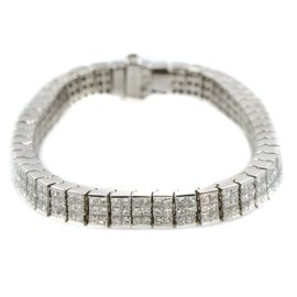 Tennis Bracelet In Platinum 10.50CT Princess Cut Diamond G VS1 47.2 Gr 6.5""