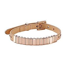 Michael Kors Leather Stainless Steel IP Pink Gold Beige Bracelet
