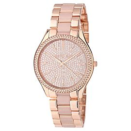 Michael Kors MK4288 Slim Runway Gold Crystal Dial Gold Steel Bracelet Womens Watch