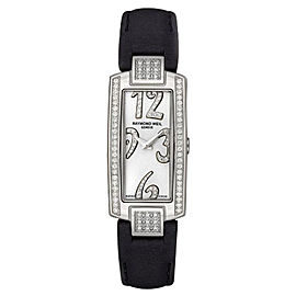 Raymond Weil 1500-ST2-05383 Shine Silver Dial Black Leather Band Watch