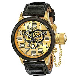 Invicta 14616 Russian Diver Gold Dial Leather Chronograph Men's Watch