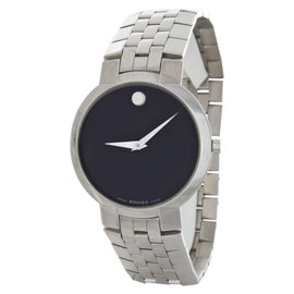 Movado Black Dial Silver-Tone Bracelet Mens Watch