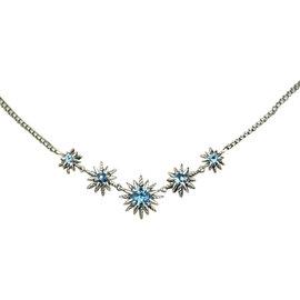 David Yurman Sterling Silver Blue Topaz 5 Stations Starburst Necklace