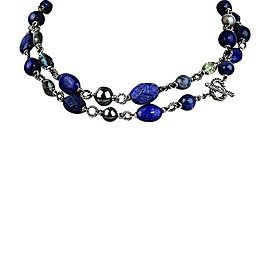 David Yurman Sterling Silver Indigo Lapis Lazuli Hematite Pearl Necklace