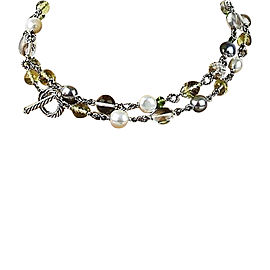 David Yurman Sterling Silver Beads Pearl Peridot and Quartz Linked Necklace
