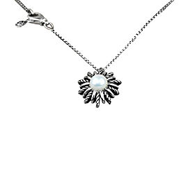 David Yurman Sterling Silver and Pearl Starburst Station Necklace
