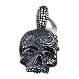 David Yurman Sterling Silver Ruby Skull Pendant Necklace