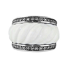 David Yurman Sterling Silver White Quartz & Diamond Cable Sculpted Ring Size 7