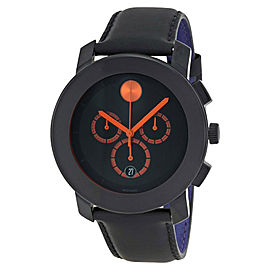 Movado 3600232 Bold Black Leather Chronograph Swiss Movement Mens Watch