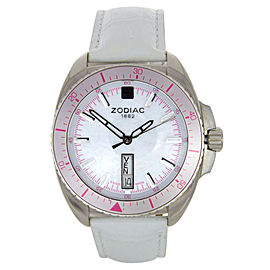 Zodiac ZO5537 Swiss Day-Date Mother of Pearl Pink Numerals Womens Watch