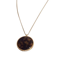 Michael Kors Gold Tone Stainless Steel Tortoise and Crystals Disk Necklace
