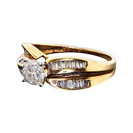 14K Yellow Gold Natural Round Diamond Channel Set Engagement Ring