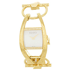 Gucci P11715054 MOP Dial Stainless Gold Tone Steel Bracelet Quartz Womens Watch