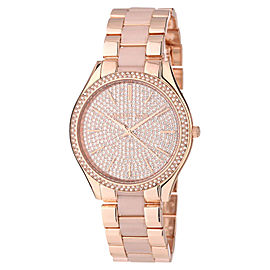 Michael Kors Slim Runway MK4288 Gold Crystal Dial Gold Steel Bracelet Womens Watch