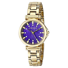 Anne Klein AK/1622PMGB Swarovski Crystal Purple Dial Gold-Tone Women's Watch