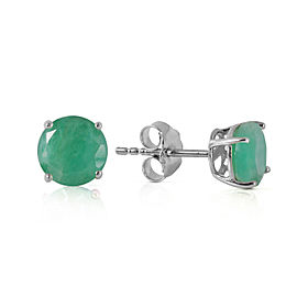0.95 CTW 14K Solid White Gold Fortress Of Love Emerald Earrings