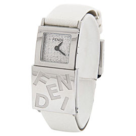 Fendi F551244D Secret Series Double Time Diamond Dial Leather Strap Womens Watch