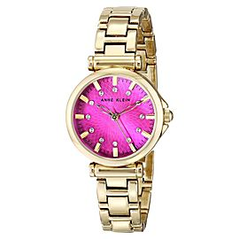 Anne Klein AK/1622MMGB Swarovski Crystal Accented Magenta Dial Gold Tone Womens Watch