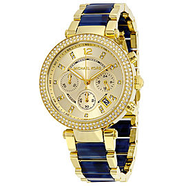 Michael Kors MK6238 Parker Champagne Dial Gold Plated Chronograph Womens Watch