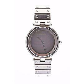 Cartier Santos Round Gray Dial Stainless Steel Screw Bracelet Quartz Mens Watch
