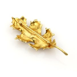 Tiffany & Co. 18k Yellow Gold Oak Leaf Pin Brooch