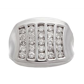 14k White Gold 1.25 Ct Diamond Multi-Row Size 10.5 Mens Ring