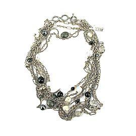 David Yurman Sterling Silver 4-Row Briola Pearls, Black Onyx and Hematite Cable Necklace