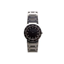 Bulgari BB2655 Black Diamond Dial Quartz Stainless Steel 35mm Womens Watch