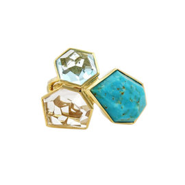 Ippolita Rock Candy 18k Yellow Gold Blue Turquoise, Blue Topaz and Clear Quartz Ring Size 7