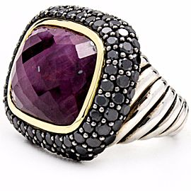 David Yurman 925 Sterling Silver & 18K Yellow Gold Waverly Ruby Ring Black Diamonds Size 6