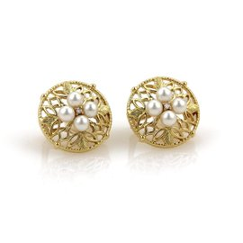 Mikimoto 18K Yellow Gold 0.02 Ct Diamond & Pearls Open Leaf Round Clip On Earrings