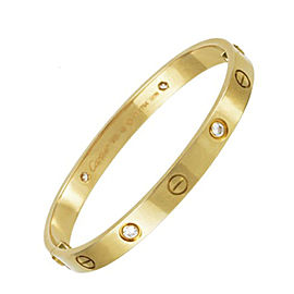 Cartier Love 18K Yellow Gold Diamond New Screw System Bracelet Size 16