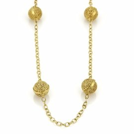 14K Yellow Gold 8 Filigree Ball Station Long Chain Necklace