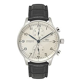 IWC Portuguese 3714 Chronograph Automatic White Dial Blue Hands 40mm Mens Watch