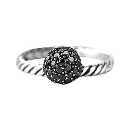 David Yurman 925 Sterling Silver Black Diamond Ball Stack Ring Size 6 & 7
