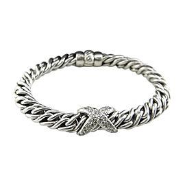 David Yurman 925 Sterling Silver and Diamond 'X' Wheat Chain Bracelet