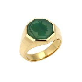 David Yurman 18K Yellow Gold Green Onyx Intaglio Octagon Ring Size 10