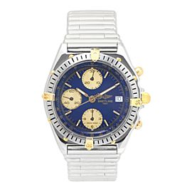 Breitling Chronomat B13047 18K Yellow Gold Automatic Blue Dial Bezel 38mm Mens Watch