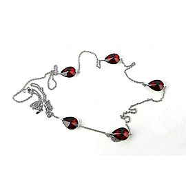 Sterling Silver Ruby Womens Necklace