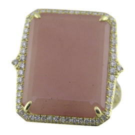 Judith Ripka 18K Yellow Gold Guava Chalcedony 0.76ct. Diamond Ring Size 7