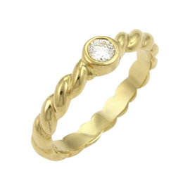 Tiffany & Co. 18K Yellow Gold 0.10ct. Diamond Twisted Rope Band Ring Size 6