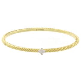 David Yurman Cable Classic 18K Yellow Gold & Diamonds Bangle Cuff Bracelet